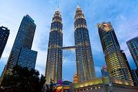 マレーシア クアラルンプール KLCC地区の夕景 ツインタワー