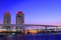 東京都 湾岸ビル群とレインボーブリッジ 夜景