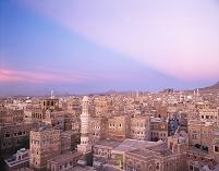 イエメン サナア 旧市街 街並み 夕方