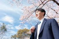 桜を眺める男子高校生