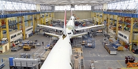 工場 格納庫に建造される飛行機