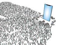 巨大なスマホに集まる群衆