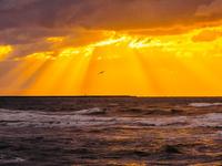 石川県 内灘海岸 日本海の夕焼け