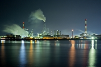 山口県 工場地帯の夜景