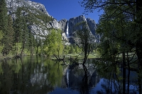 アメリカ合衆国 ヨセミテ国立公園 新緑のヨセミテ滝とマーセド川