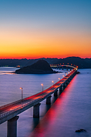 山口県 角島大橋の夕焼け