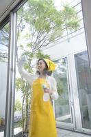 窓拭きをする中高年日本人女性
