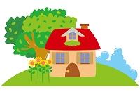 真夏の丘の家