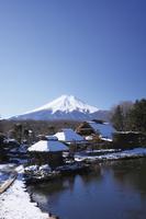 山梨県 冬の忍野八海と富士山