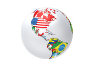 国旗の地球儀 アメリカ