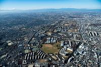 理化学研究所建物群と陸上自衛隊朝霞駐屯地周辺より富士山
