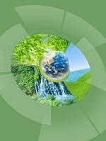 地球と丸い画面のエコロジー画像