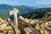 唐松岳山頂の標識