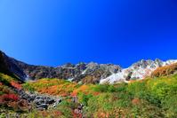 長野県 紅葉の登山道を行く登山者と穂高連峰