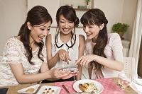 女子会で写真を見る日本人女性