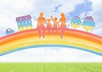 虹の上に座る家族