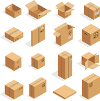 様々な形の段ボール箱