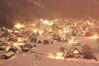岐阜県 城山天守閣展望台から白川郷の夜景