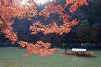 京都 嵐山の紅葉と屋形船