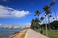ハワイ ワイキキの遊歩道