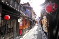 京都府 先斗町 飲食店街の町並みと太陽の光芒