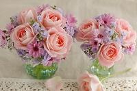 バラと小花のプチブーケ
