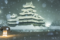 長野県 雪降る松本城