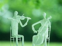 人形 バイオリン奏者とチェロ奏者 (粘土クラフト クレイアート)