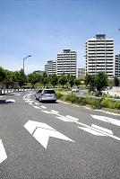青空と住宅街の道路