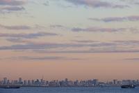 千葉県 東京湾アクアライン 海ほたるSAから望む東京の街並み朝...