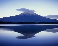 田貫湖 笠雲と逆さ富士山