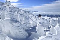 日本 山形県 蔵王の地蔵山の樹氷と蔵王ロープウェイ山頂線