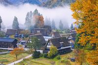 富山県 朝霧漂う紅葉の相倉合掌造り集落