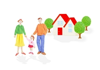 三人家族と住宅