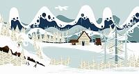 雪に覆われた湖畔の小屋