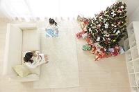 クリスマスツリーのあるリビングでくつろぐ親子と犬
