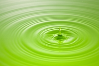 緑色の波紋と水滴