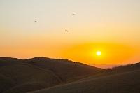 熊本県 夕方の空とパラグライダー