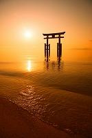 滋賀県 白鬚神社 朝焼け