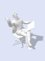 椅子に掛けてタブレット片手に喜ぶビジネスマン