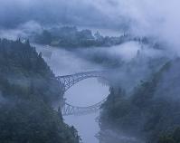 福島県 只見線 第一鉄橋と只見川