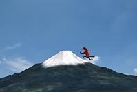 富士山を駆け上る馬