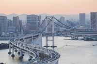 東京都 江東区 レインボーブリッジと品川方面のビル群 夕景