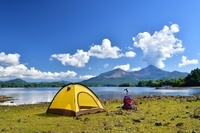 福島県 湖畔のキャンプ