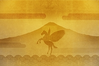 金屏風と富士山とペガサス