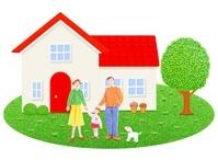 日本人三人家族と一軒家