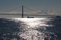 兵庫県明石市 朝の明石海峡大橋
