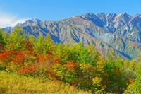 長野県 岩岳から五竜岳左奥と唐松岳右の山
