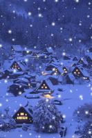 岐阜県 荻町城跡展望台から見る明かり灯る白川郷