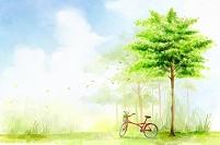 赤い自転車と木々 イラスト